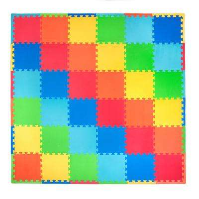 Solid Color 72 in. x 72 in. Residential Floor Mat Set