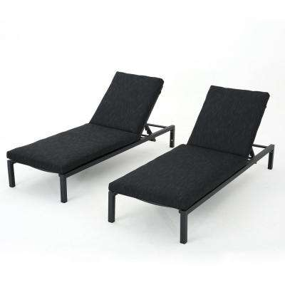 Stefan Dark Grey 2-Piece Metal Outdoor Chaise Lounge with Black Cushions