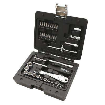 1/4 in. Drive Metric Socket Set with Ratchet (42-Piece)