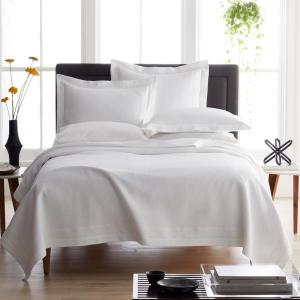 Pawling White Solid Cotton King Matelasse Coverlet