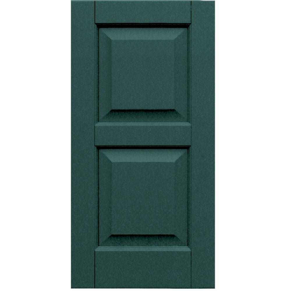 Winworks Wood Composite 15 in. x 30 in. Raised Panel Shutters Pair #633 Forest Green