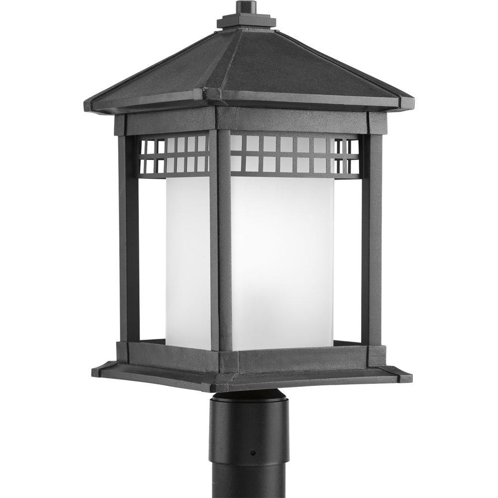 Merit Collection 1-Light Black Outdoor Post Lantern