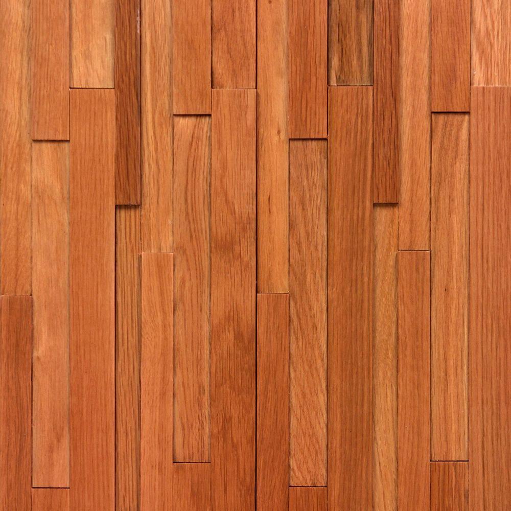 Take Home Sample - Deco Strips Gunstock Engineered Hardwood Wall Strips - 5 in. x 7 in.