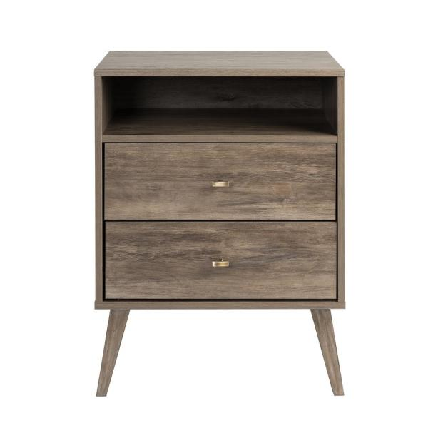 Milo Mid Century Modern 2-Drawer Drifted Gray Tall Nightstand with Open Shelf