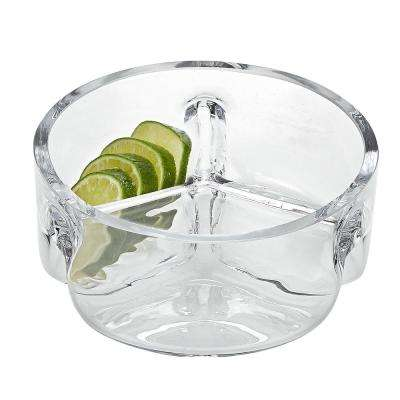 6.25 in. D Trista European Mouth Blown Lead Free Crystal 3-Section Server