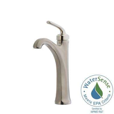 Arterra Single Hole Single-Handle Vessel Bathroom Faucet in Brushed Nickel