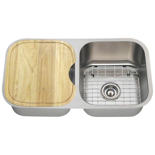 All-in-One Undermount Stainless Steel 33 in. Double Bowl Kitchen Sink