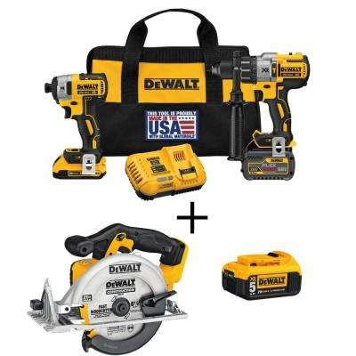 FLEXVOLT 60-Volt and 20-Volt MAX Lithium-Ion Cordless Brushless Combo Kit (2-Tool) with Bonus Circ Saw and Battery 5Ah