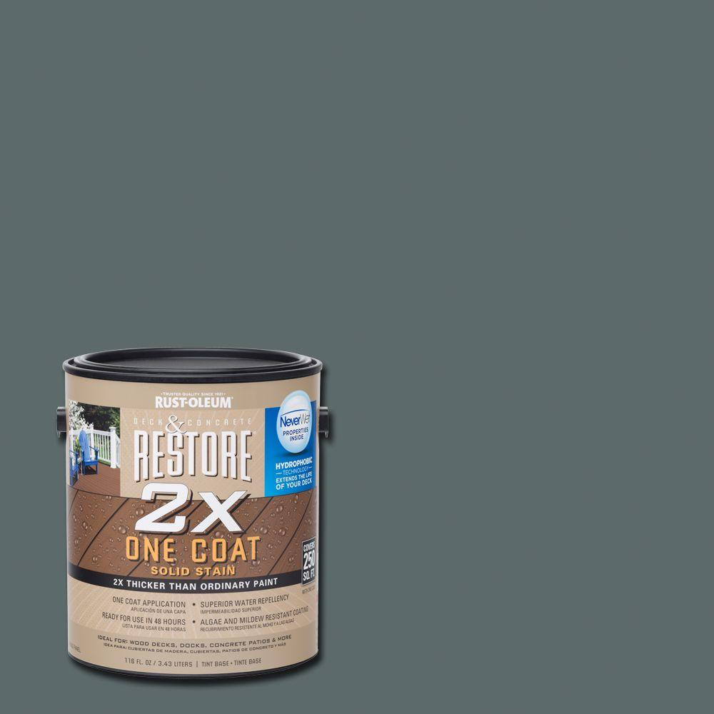 Rust-Oleum Restore 1 gal. 2X Pewter Solid Deck Stain with NeverWet