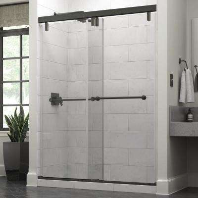 Crestfield 60 x 71-1/2 in. Frameless Mod Soft-Close Sliding Shower Door in Bronze with 3/8 in. (10mm) Clear Glass