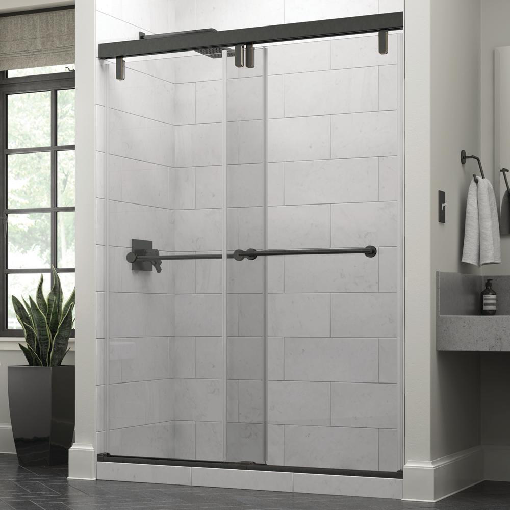 Crestfield 60 in. x 71-1/2 in. Mod Semi-Frameless Sliding Shower Door in Bronze and 3/8 in. (10mm) Clear Glass
