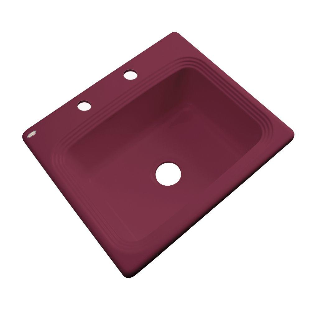Thermocast Rochester Drop-In Acrylic 25 in. 2-Hole Single Basin Kitchen Sink in Loganberry