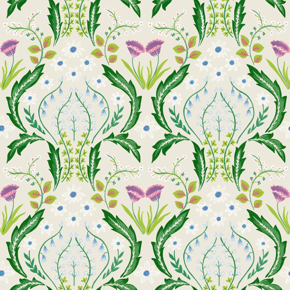 Scandi Floral BoTanical Green Vinyl Peelable Roll (Covers 60 sq. ft.)