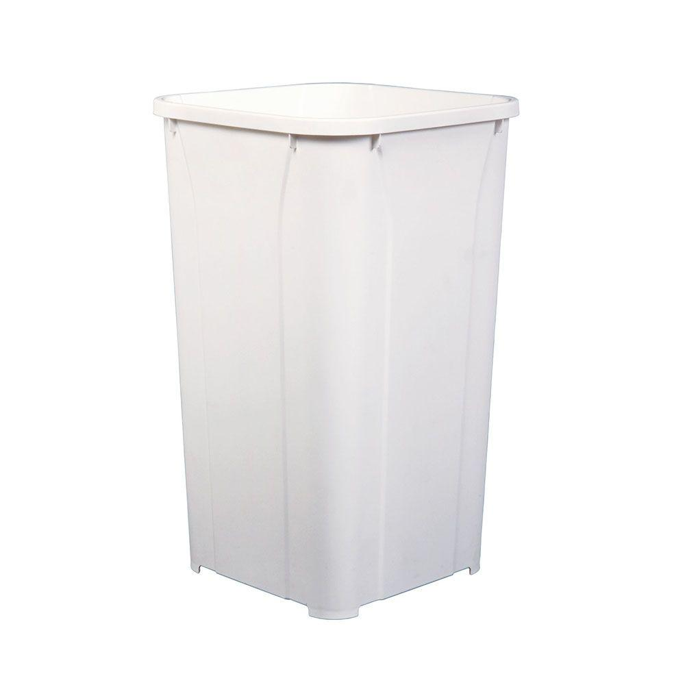 Knape & Vogt 18 in. H x 11 in. W x 11 in. D Plastic 27 Qt. Replacement Pull-Out Trash Can in White