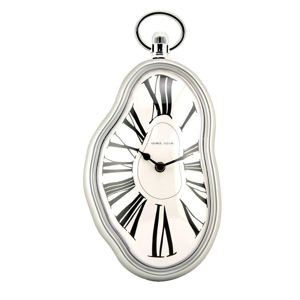 Nextime 14.50 in. x 7.25 in. Melting Oval Plastic Wall Clock