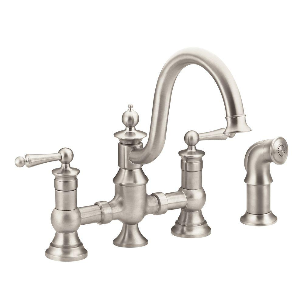 Bridge Kitchen Faucet: MOEN Waterhill 2-Handle High-Arc Side Sprayer Bridge