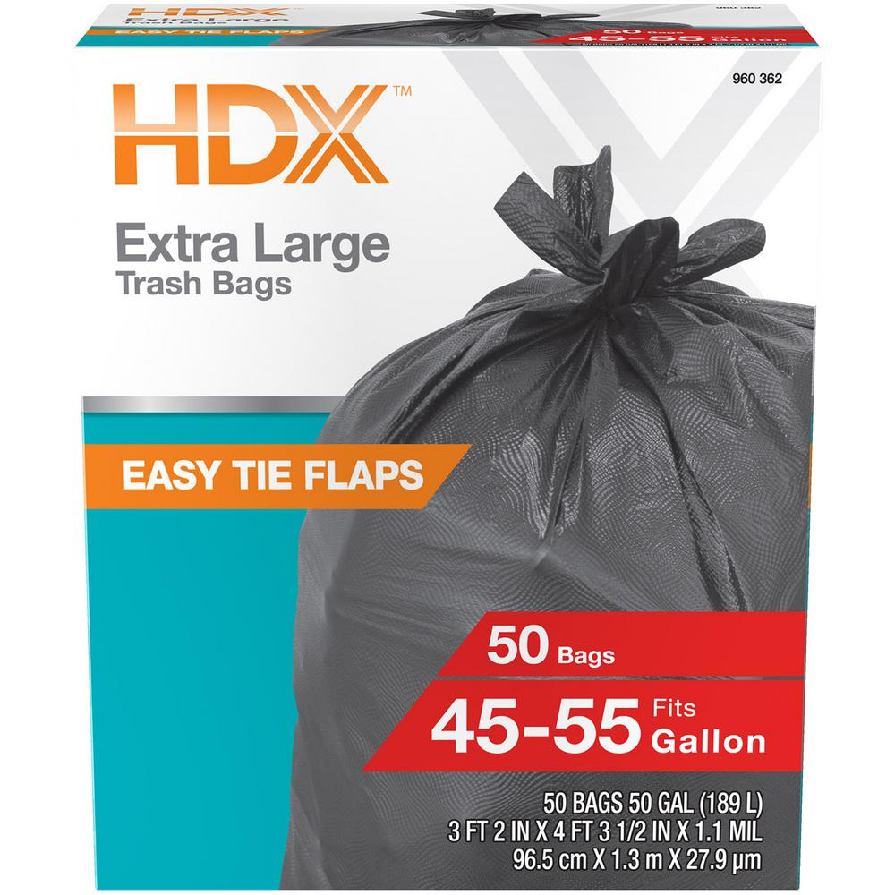 Hdx 50 Gal Wave Cut Extra Large Trash Bags 50 Count