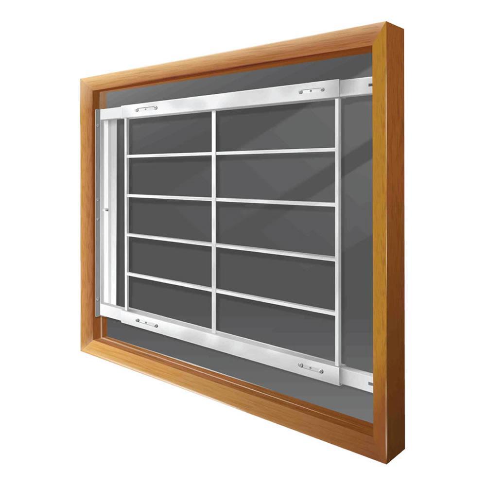 Mr. Goodbar Swing-Away 52 in. to 64 in. Adjustable Width 6-Bar Window Guard - White