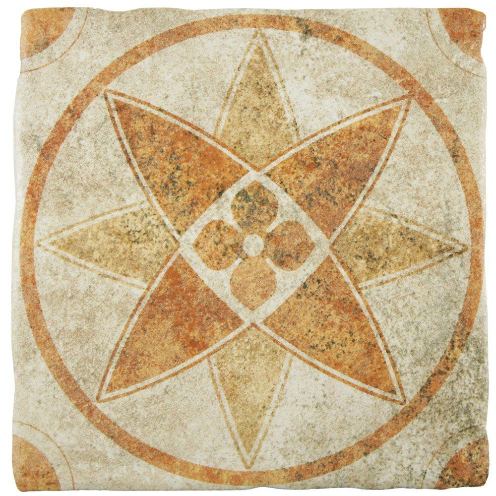 Costa Arena Decor Starflower 7-3/4 in. x 7-3/4 in. Ceramic Floor