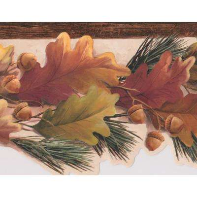 Brown Yellow Autumn Leaves Acorns Modern Prepasted Wallpaper Border