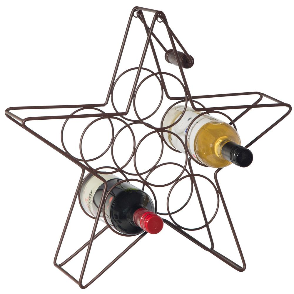 Bronze Star Shaped Bar and Wine Storage Rack