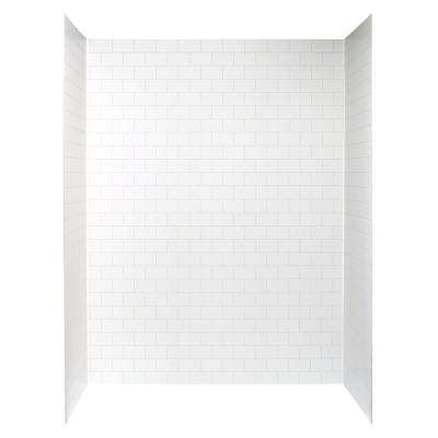 Jetcoat 32 in. x 60 in. x 78 in. 5-Piece Easy-up Adhesive Alcove Shower Surround in White Subway