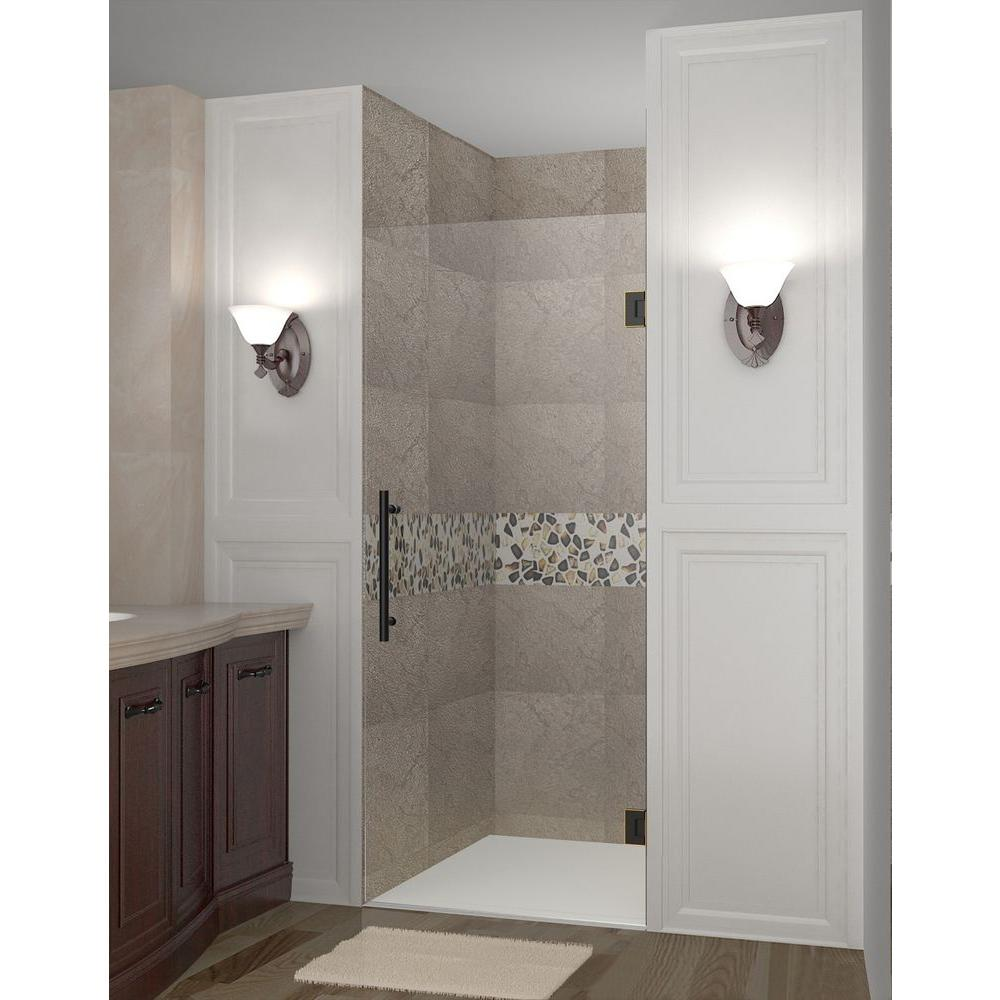 Aston Cascadia 23 in. x 72 in. Completely Frameless Hinged Shower Door in Oil Rubbed Bronze