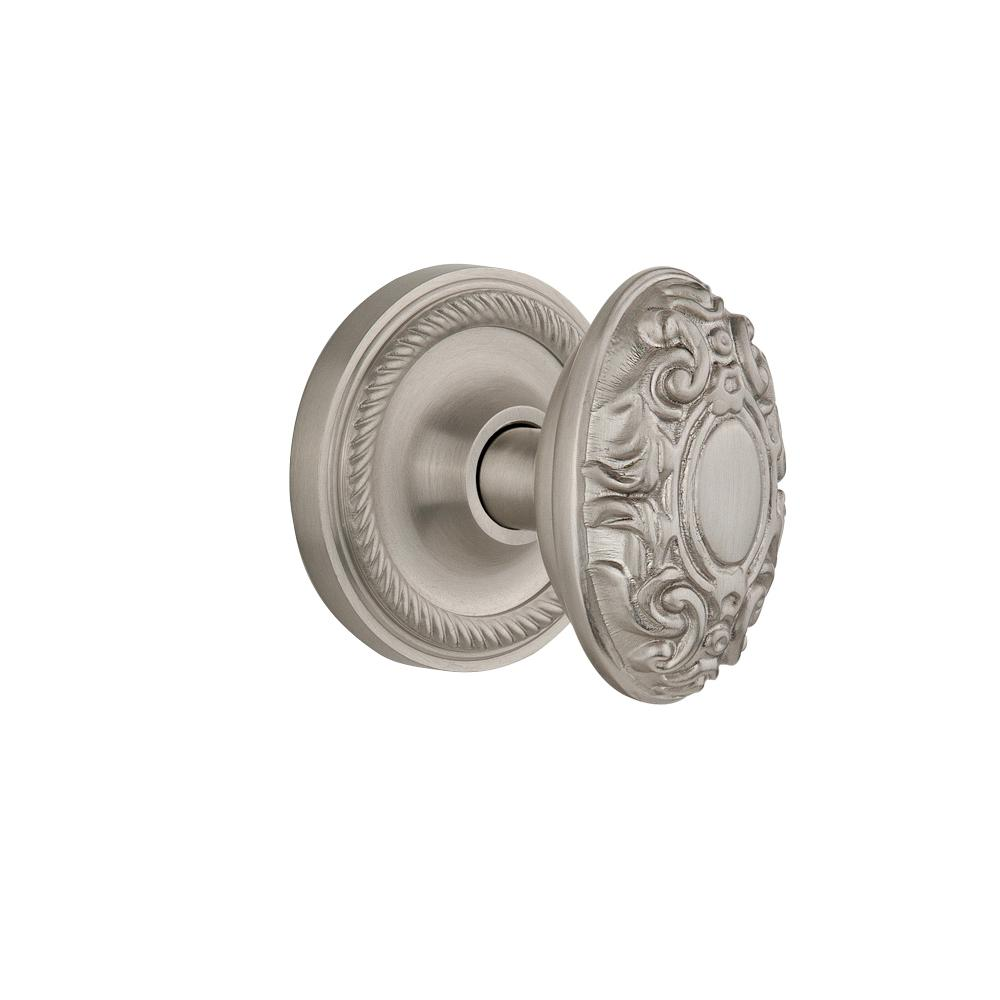 Rope Rosette Interior Mortise Victorian Door Knob in Satin Nickel