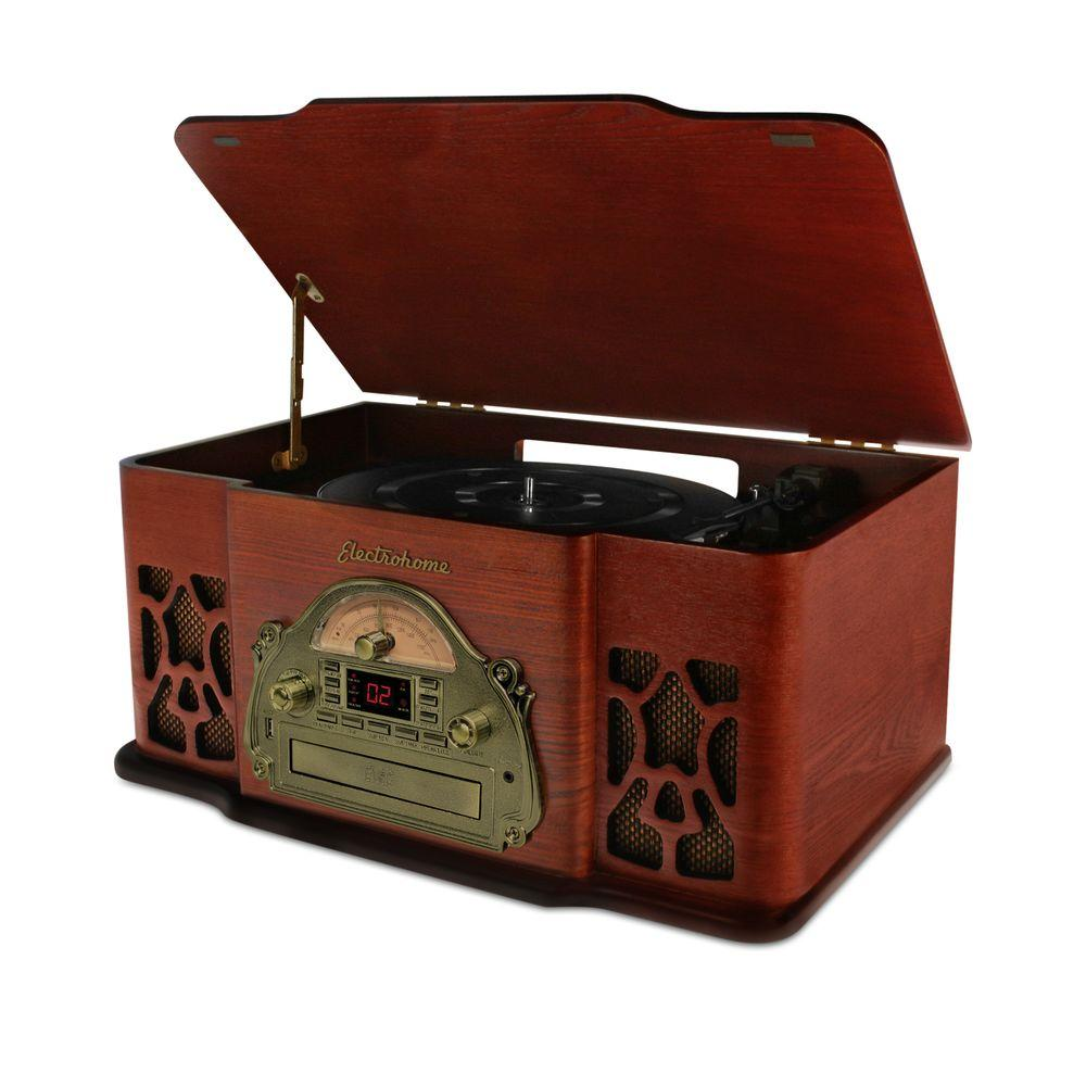 Electrohome Wellington Real Wood Music System with Record Player, USB Recording, MP3, CD & AM/FM Rad