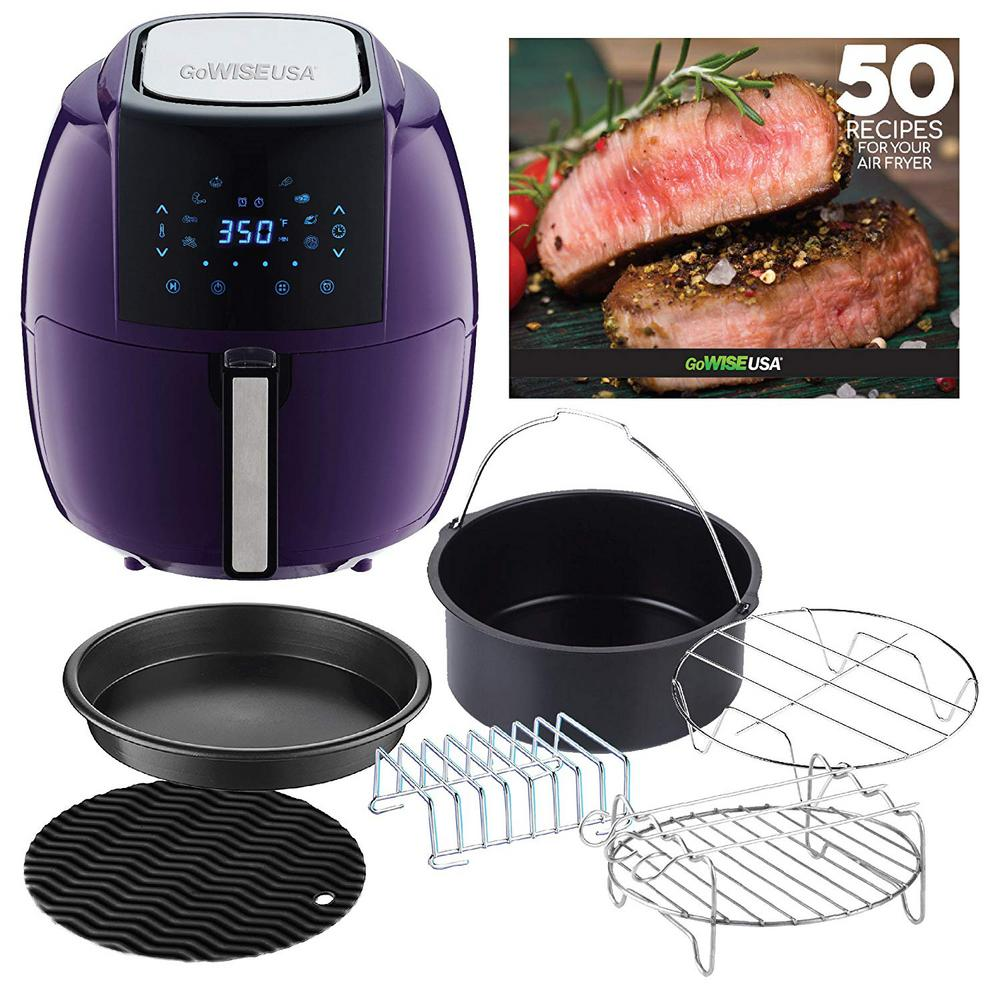 8-in-1 5.8 Qt. Plum Air Fryer with 6-Piece Accessory Set and 50-Recipes Book