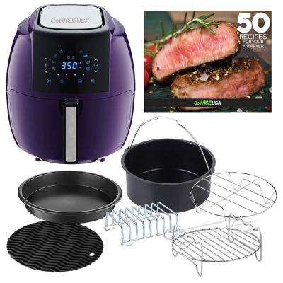 5.8 Qt. 8-in-1 Plum Air Fryer with 6-Piece Accessory Set and 50-Recipes Book