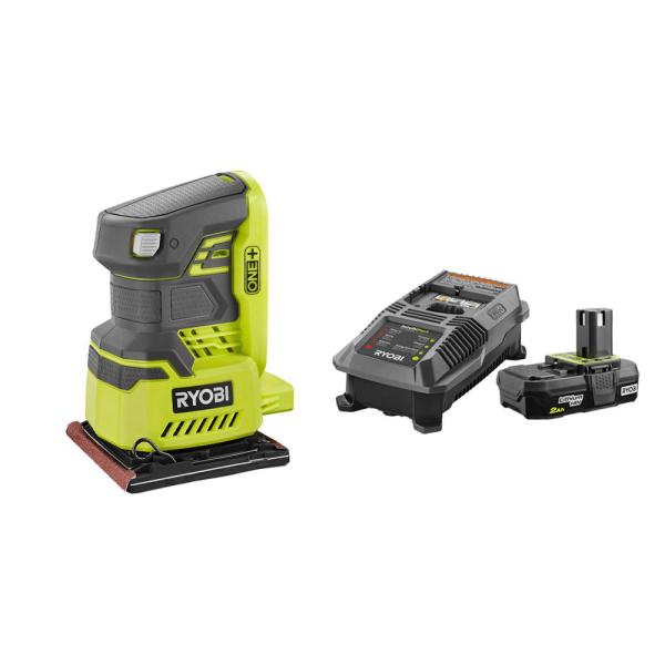 18-Volt ONE+ Cordless 1/4 Sheet Sander with Dust Bag with 2.0 Ah Battery and Charger Kit