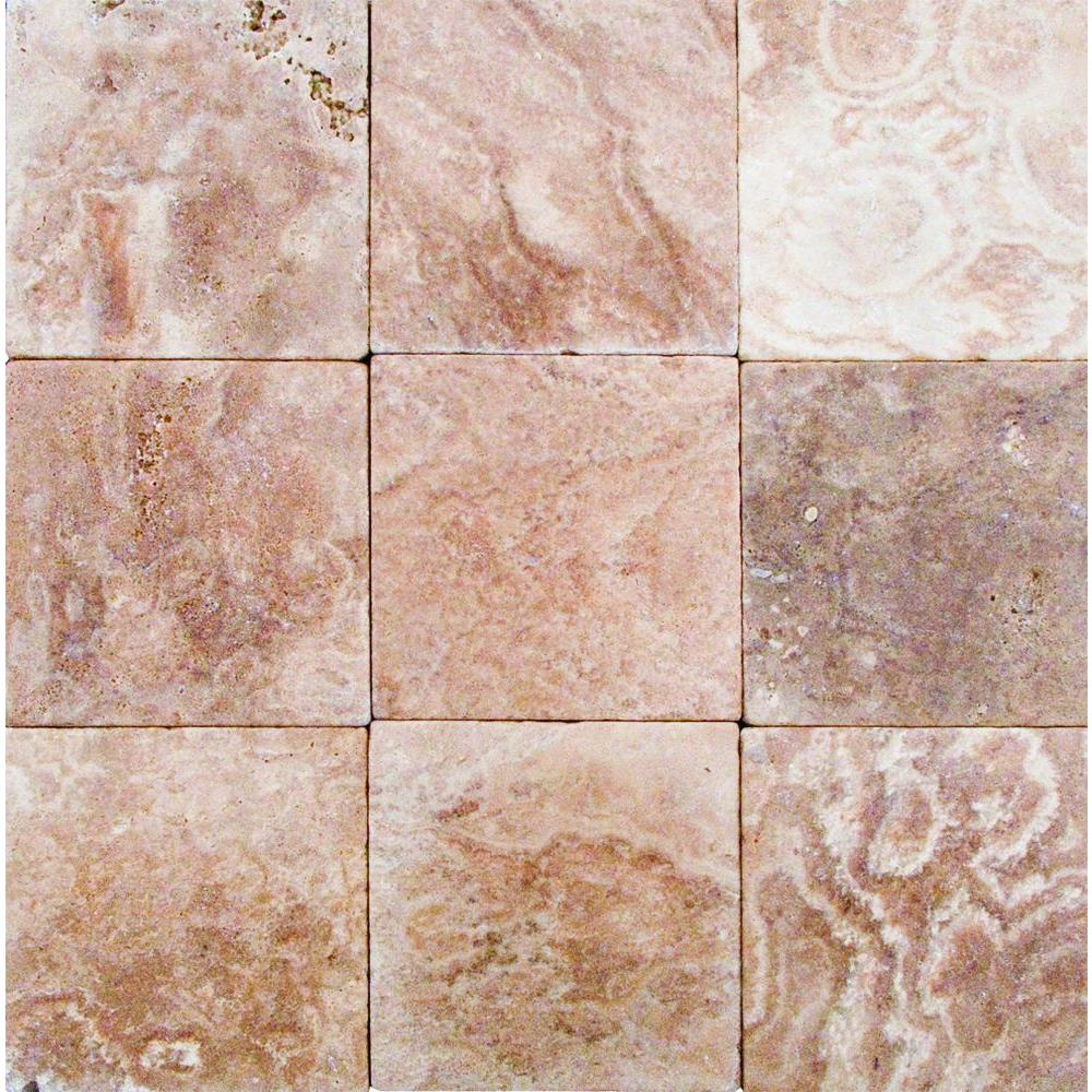 MS International English Walnut 4 in. x 4 in. Tumbled Travertine Floor & Wall Tile-DISCONTINUED
