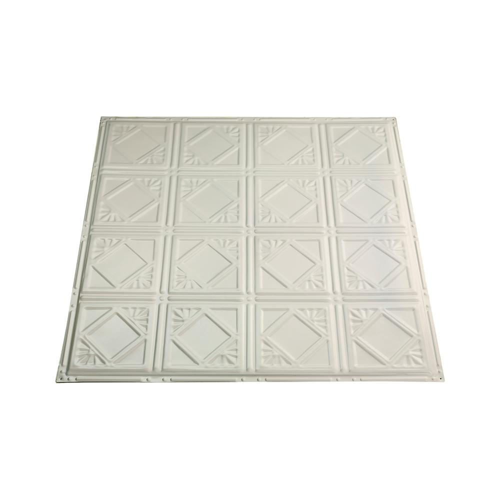 Great Lakes Tin Ludington 2 Ft X 2 Ft Nail Up Metal Ceiling Tile In Antique White Case Of 5 T57 02 The Home Depot