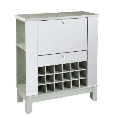 Littie Silver Mirrored Bar with Expandable Storage
