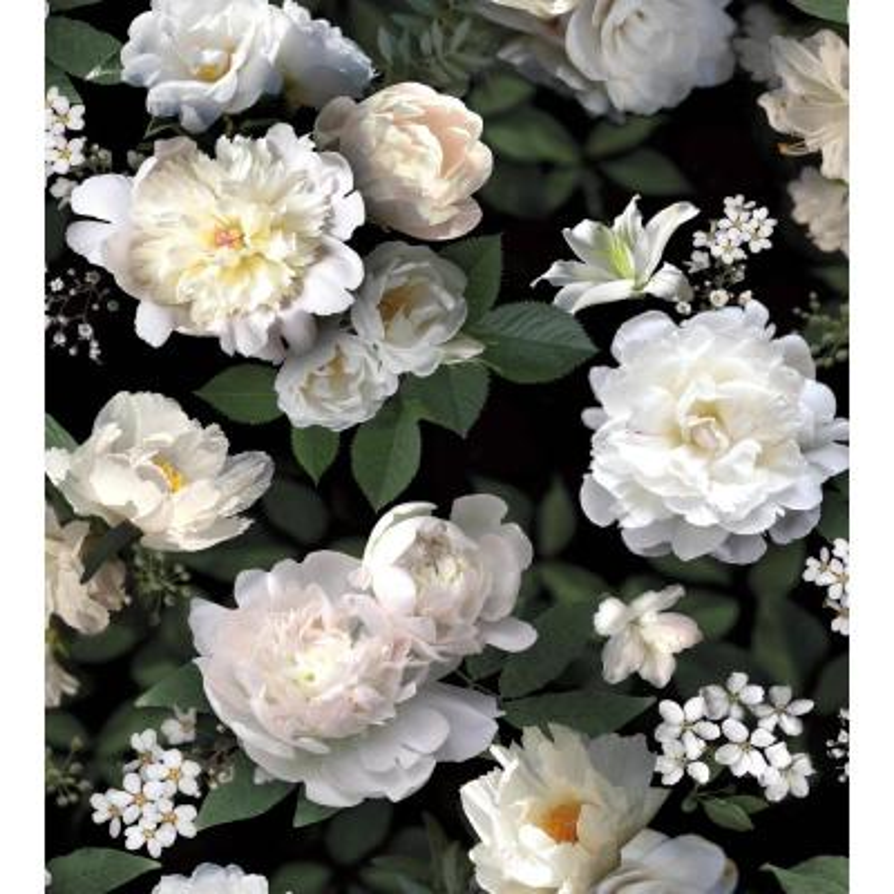 Black Photographic Floral Mural Vinyl Peelable Wallpaper (Covers 60 sq. ft.)