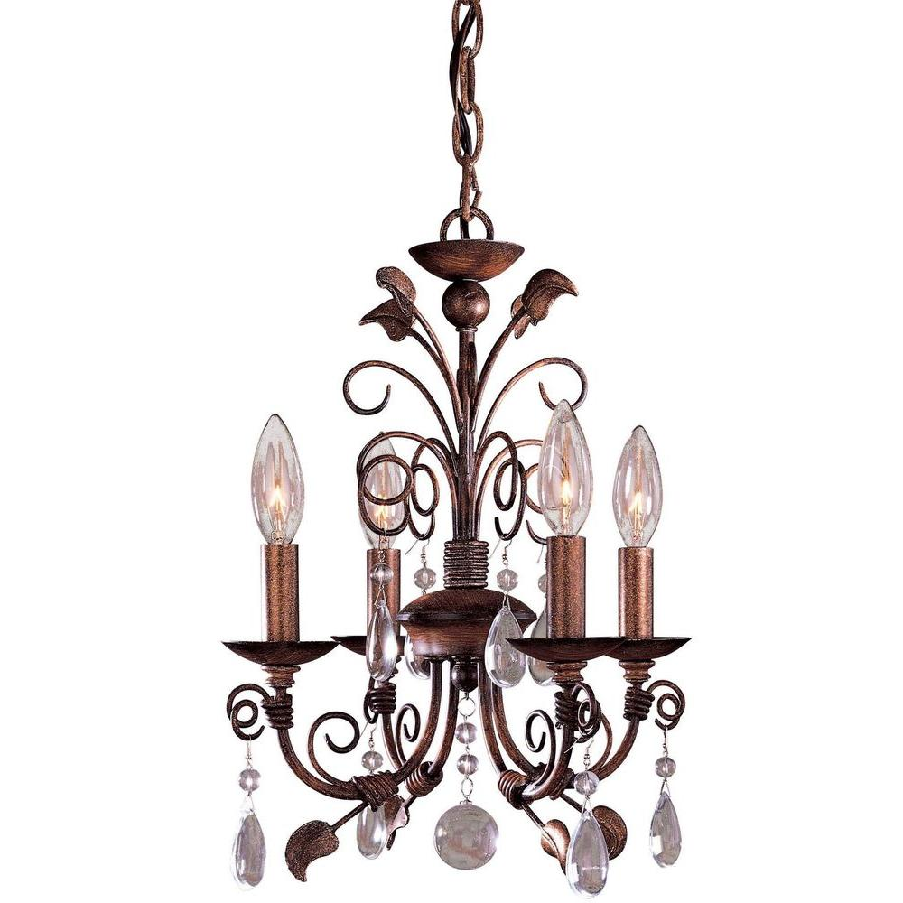 Minka Lavery 4 Light Belcaro Walnut Mini Chandelier