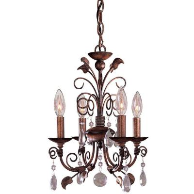 4-Light Belcaro Walnut Mini Chandelier
