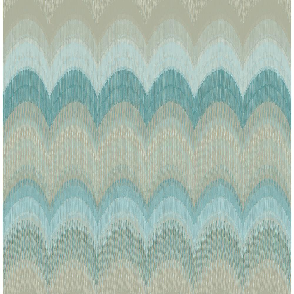 August Teal Wave Wallpaper Sample