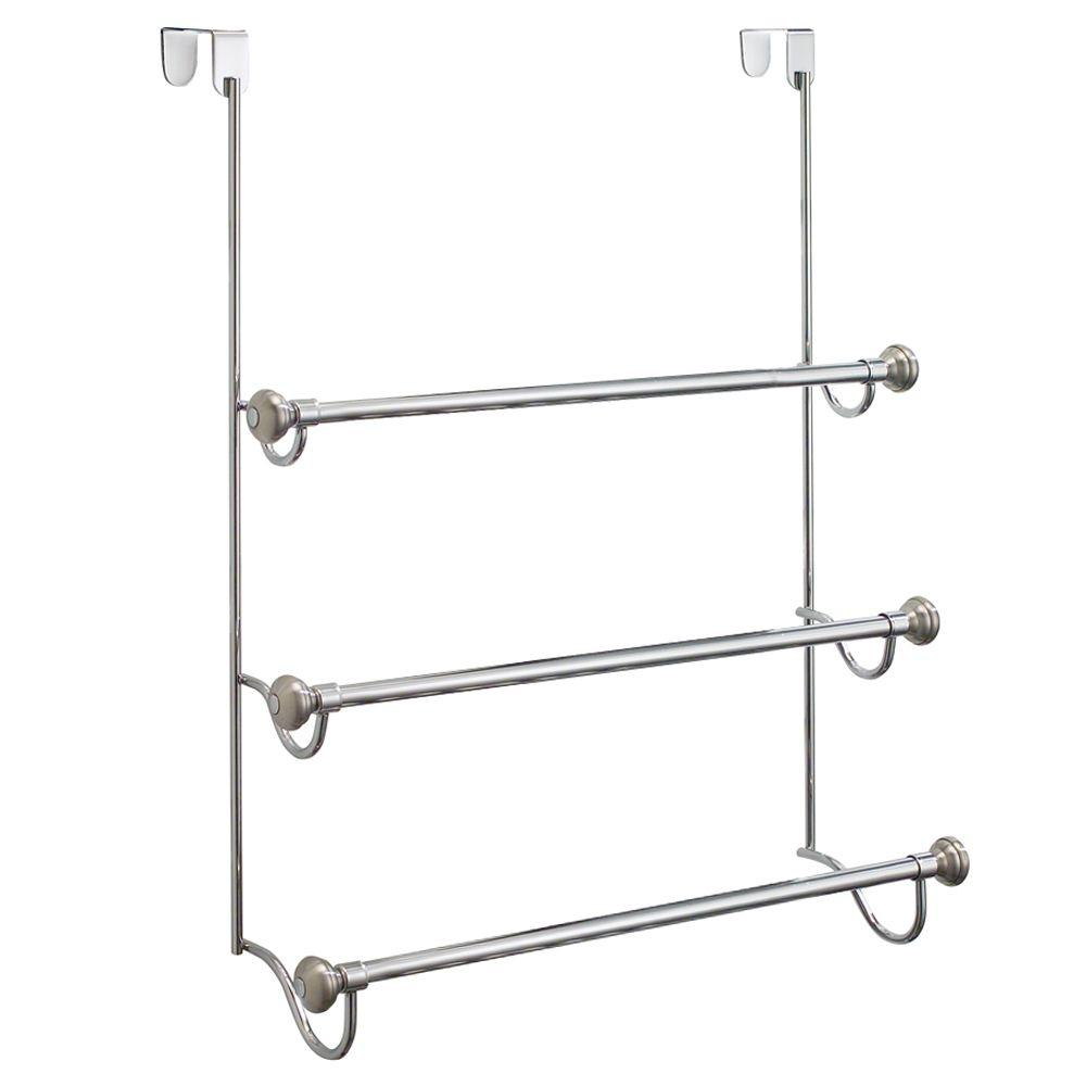 Superb InterDesign York Metal Over Shower Door 3 Bar Towel Rack In Split 79150    The Home Depot
