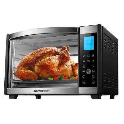 6-Slice, Black and Stainless, Convection and Rotisserie Counter Top Toaster Oven with Digital Control Panel