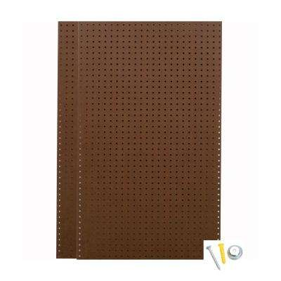 24 in. H x 42 in. W Pegboard 2-Pack Brown Tempered Wood Pegboard