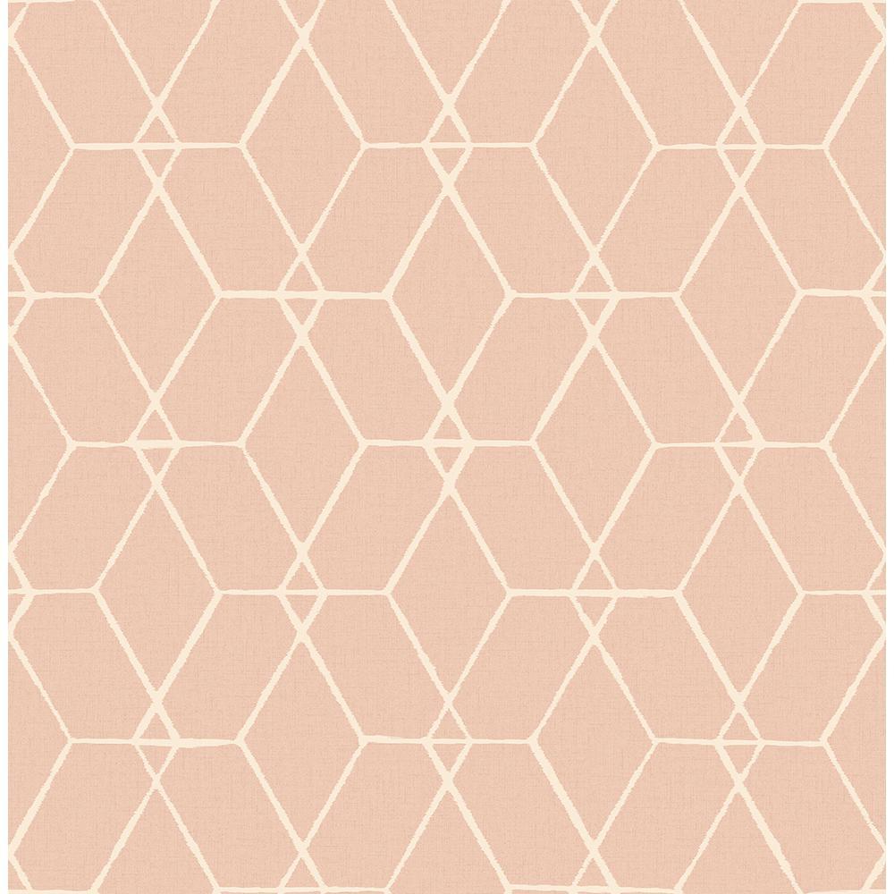 A-Street 56.4 sq. ft. Osterlen Light Pink Trellis Wallpaper 2889-25250