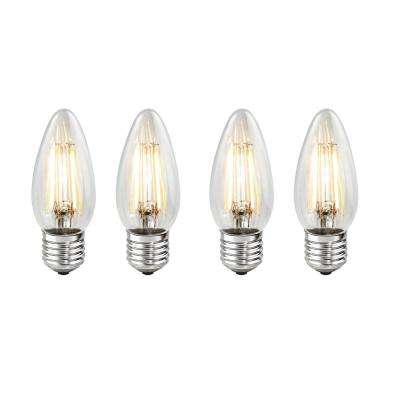 40W Equivalent Warm White Light B11 Dimmable LED Filament Light Bulb (4-Pack)
