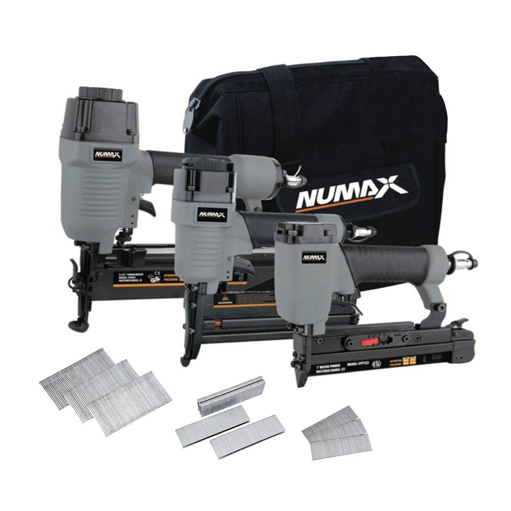 NuMax Pneumatic Finishing Nailer and Stapler Combo Kit with Bag and Fasteners (3-Piece)