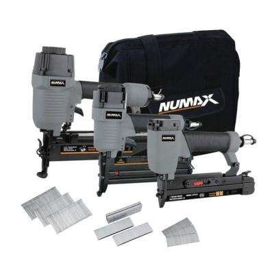 Pneumatic Finishing Nailer and Stapler Combo Kit with Bag and Fasteners (3-Piece)