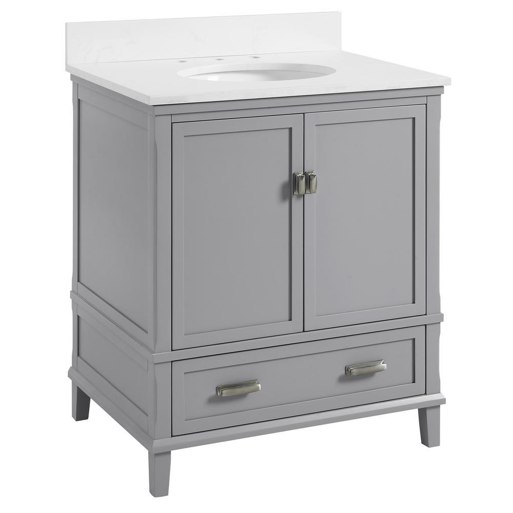 Irving 30 in. W Bath Vanity in Gray with Ocean Mist Engineered Stone Vanity Top with Pre-Installed Porcelain Basin