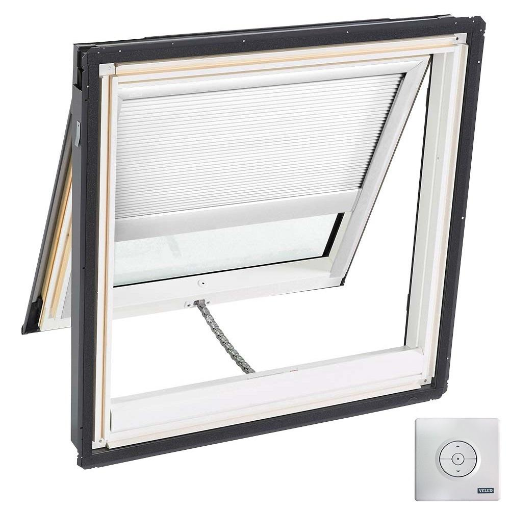 Velux 21 in x 26 7 8 in solar powered venting deck mount for Solar powered blinds for skylights