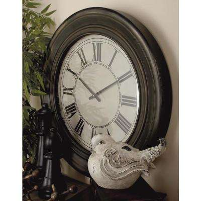 32 in. Antique Distressed Black Wooden Wall Clock