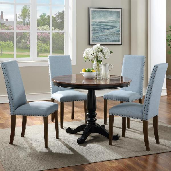 Harper Bright Designs Light Blue Upholstered Dining Chairs Set Of 2 Wf189457caa The Home Depot